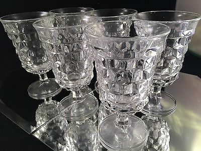 SET of 6 VINTAGE FOSTORIA AMERICA STEMMED WATER GLASSES GOBLETS