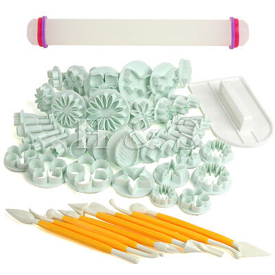 50 Pcs Sugarcraft Cup Cake Decorating Tool Fondant Icing Plunger Cutters Moulds