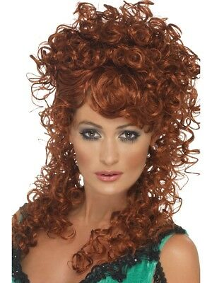 Long Ginger Saloon Girl Fancy Dress With Curly Perm Bar Girl Wench Wig