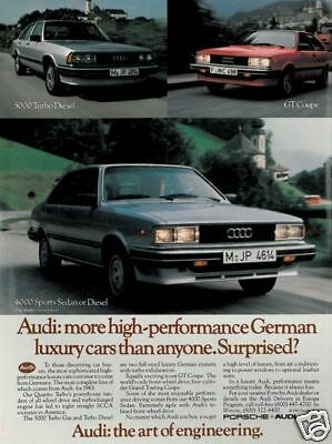 1983 Audi 4000 5000 Coupe Classic Vintage Advertisement
