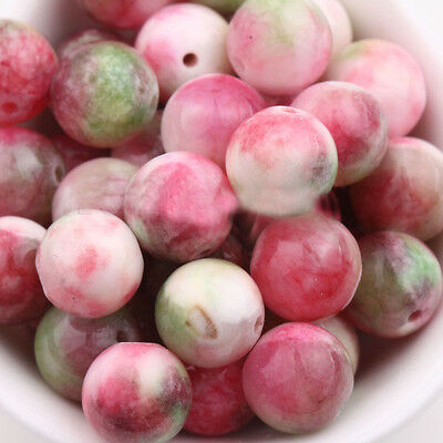 15/30PCS Jewellery Gemstone Peach Red Green Jade Loose Spacer Beads Charms 10mm