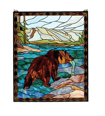 "Hand Crafted Designed Art Panel 25""W X 30""H Grizzly Bear Stained Glass Window"