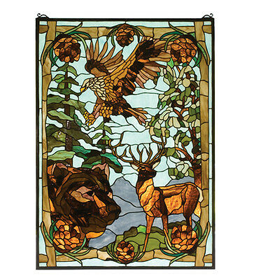 "Hand Crafted Designed Art Panel 25""W X 35""H Wilderness Stained Glass Window"