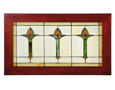 "Meyda 24""W X 14""H Arts & Crafts Bud Trio Wood Frame Stained Glass Window"