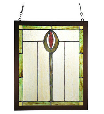 "Meyda Home Indoor Decorative 14""W X 17""H Spear Wood Frame Stained Glass Window"