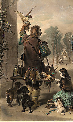 Antique Master Print-FALCONER-RETURN FROM HAWKING-FALCONRY-Cousins-Landseer-1840