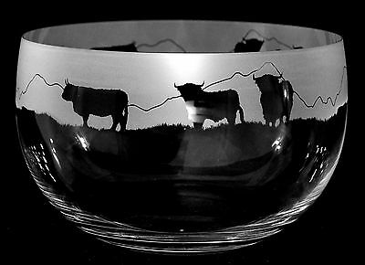 *HIGHLAND GIFT* 22cm LARGE CRYSTAL GLASS BOWL with HIGHLAND CATTLE Frieze