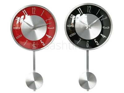 Pendulum Wall Mounted Clock Chrome Effect Silver Numerical Digits Home Office