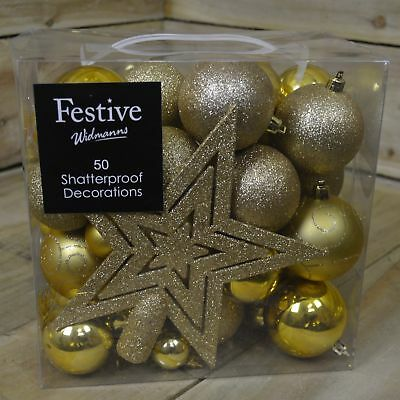 50 Piece Shatterproof Christmas Decoration Pack with Baubles & Star - Gold