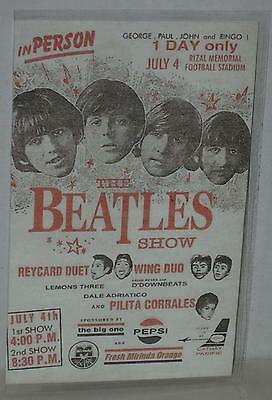 "Reproduction Beatles Advertising Card Philippines July 4, 1966 3.25"" x 5.25"""
