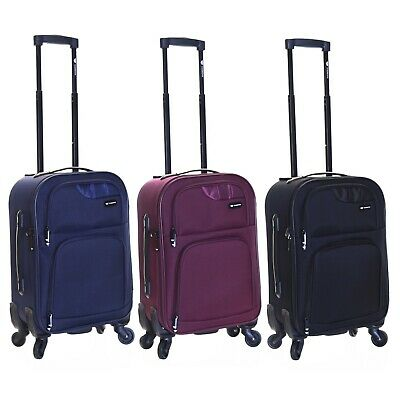 d9aba4e0a Cabin Carry-on Hand Luggage Suitcase Trolley Case Bag 4-Wheels 55 cm  Lightweight
