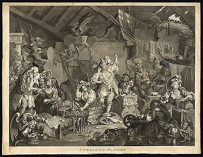 Antique Master Print-ACTOR-BARN-SATIRE-STROLLING PLAYERS-Hogarth-Cook-1800