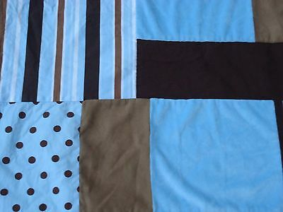 baby crib blanket and skirt blue and brown