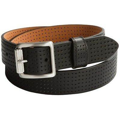 Nike Golf Women's Black Perforated Leather Belt - Roller Bar Buckle
