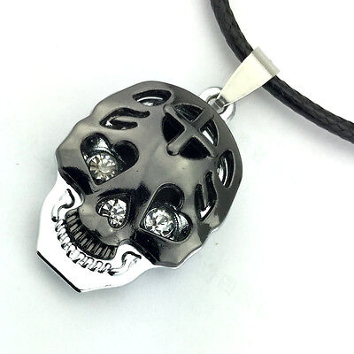 Emptiness Mens Cross Hollow Skull Rhinestone Pendant Necklace PU Chain new 1pcs