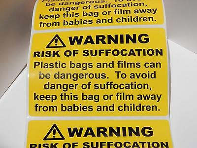 RISK OF SUFFOCATION Plastic Bag/Film warning label sticker yellow bkg 24 pt prnt
