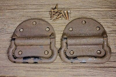 "2 Tool Box 4 3/4"" drop Handles Pulls old rusty trunk vintage screws cast iron"