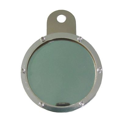 Tax Disc Holder Round 6 Screws, Green Glass, Chrome Backing