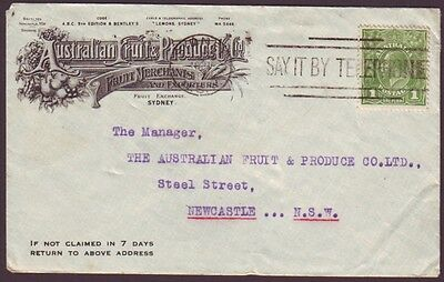 """1931 ADVERTISING COVER """"AUSTRALIAN FRUIT AND PRODUCE CO LTD"""" WITH 1d KGV STAMP"""