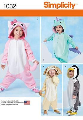 Simplicity Sewing Pattern Toddlers Costumes Penguin Cat Dog Unicorn 1/2-4  1032