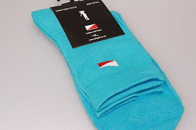 JRB Padded Sole/Heel Golf Socks 100% Cotton Quarter/Ankle Length Coral/Turquoise
