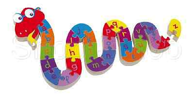 ABC Wooden Alphabet Jigsaw Snake Puzzle - Childrens Educational Toy