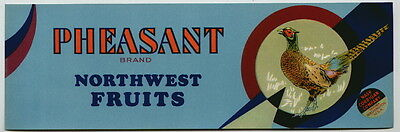 PHEASANT Vintage Yakima Washington Fruit Crate Label, ***AN ORIGINAL LABEL***