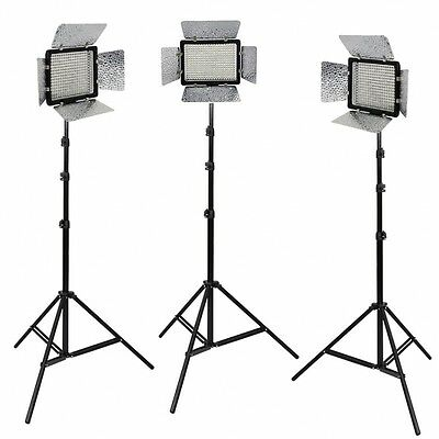METTLE Studioset VL-3000,Presse-Interview-Set m. 3x LED Videoleuchte 3x Stativ