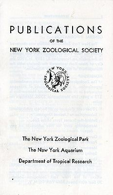 Old PUBLICATIONS of the NEW YORK ZOOLOGICAL SOCIETY booklet 1949