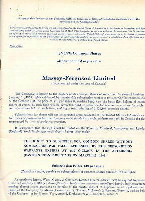 Old MASSEY FERGUSON business shares booklet 1963 Shareholder report