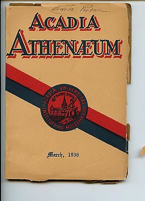Old ACADIA ATHENAEUM March 1936 book University EARL PORTER