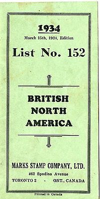 Old booklet  1934 BRITISH NORTH AMERICA Marks Stamp Company Ltd. stamp info