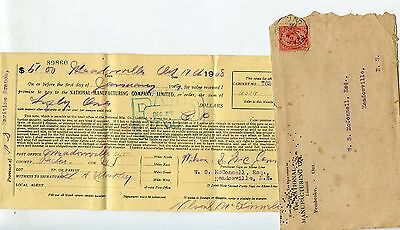 Old 1908 NATIONAL MANUFACTURING COMPANY LIMITED bill + envelope