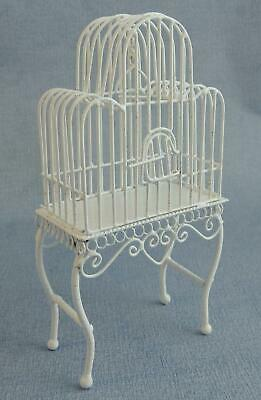 Dolls House Miniature Victorian Pet Accessory White Wire Wrought Iron Bird Cage