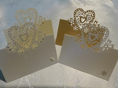 Wedding Party Pearlescent Laser Cut Love Hearts Place Cards Table Name
