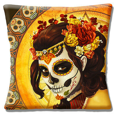 "Retro Mexican Sugar Skull Day of the Dead Girl  Yellow 16"" Pillow Cushion Cover"