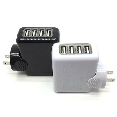 4 Port 2.1A Multi USB Portable Travel iPhone Wall Charger US Plug Power Adapter
