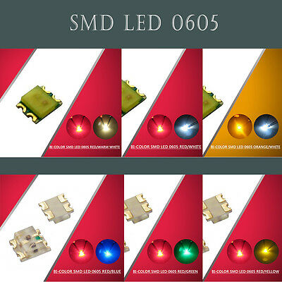 100pcs 0605  SMD LED Bi-Color Red-Blue/Green/Yellow/Warm White/White  LEDs NEW