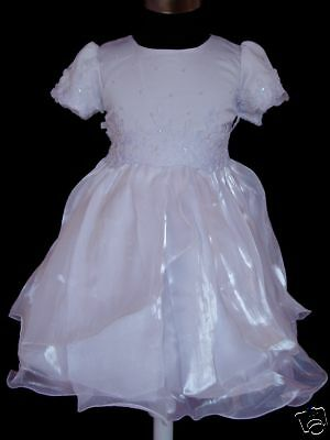 White Satin Christening/Wedding/Party Dress 18-24 Months