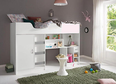 New Cabin Bed Childrens Single Bed High Sleeper White R140W