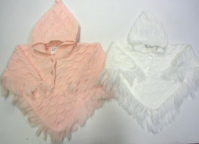 Babies Baby Clothes Girls Knitted Poncho Pink White Hooded Hood Tassel