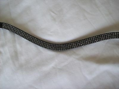 BLING! Diamante*English Leather Sparkly Wave Browband*4-Row GREY Crystals*
