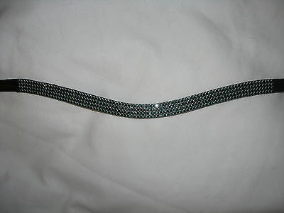 BLING! Diamante*English Leather Sparkly Wave Browband*4-Row GREEN Crystals*