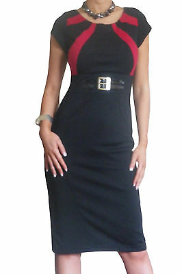 Ladies Dress Womens Office Black Pencil  Midi Work Bodycon Size 10 12 14 16 18