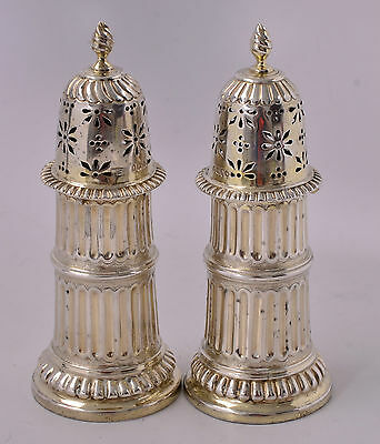 Antique 1879 Frederick Brasted Sterling Salt & Pepper Shakers Set - No Monogram