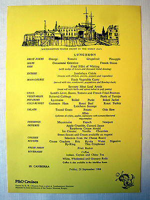 SS CANBERRA Luncheon Menu, 1984 -- P&O Cruises