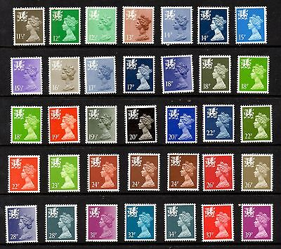 Wales. W35-W69. Collection x 35 Questa definitives. Unmounted mint.