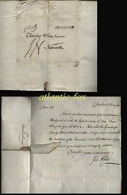 1794 DURHAM P.M. LETTER TO NEWCASTLE, ½ oz   GEO. WOOD TO CHARLES WREN