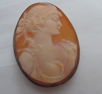 Victorian Detail Shell Cameo Beautiful Young Girl Sterling Frame 800