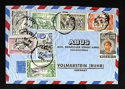6037-NIGERIA-AIRMAIL COVER LAGOS to VOLMARSTEIN (germany)1950.british.Africa.2/6